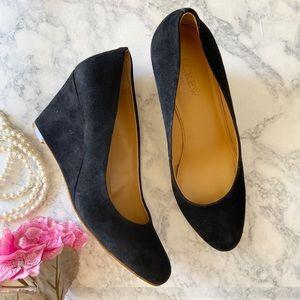 J.Crew Black Suede Wedge Shoes